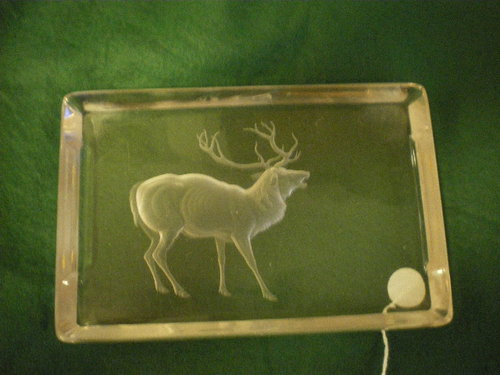 1900 bohemian glass pen tray with Stag