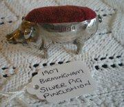 1907 Birmingham Silver pig pincushion