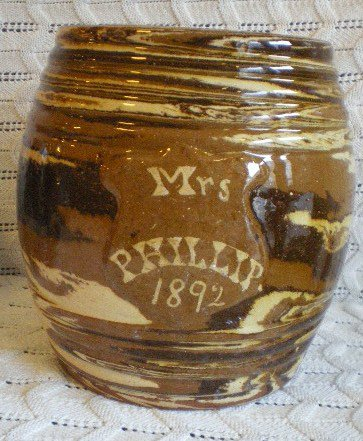 Seaton Pottery Agate Barrel Mrs Philips 1892