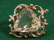 Antique 9ct & citrine heart brooch