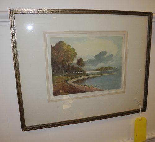 Aqua tint Engraving Of Loch Katrine