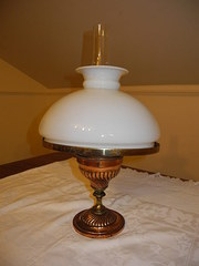 Copper and brass oil lamp