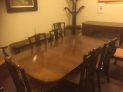 Edwardian mahogany dining table with 10 Chairs