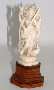 Ivory Saraswati Figure