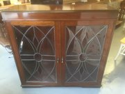 Art Nouveau mahogany stain glass glazed bookcase