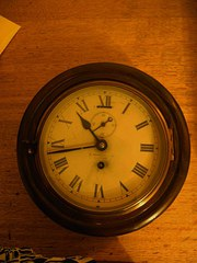 Mahogany cased ships clock