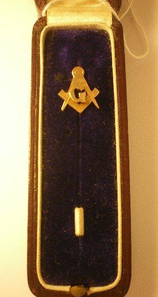 Rose Gold Masonic Lapel Pin 1900