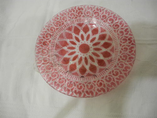 Rosetti window design glass dish signed
