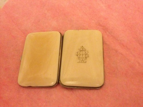 Victorian Ivory silver plated card case