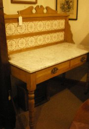Victorian Pine And Tiled Washstand