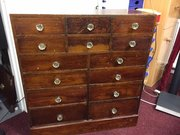Victorian apothecary chest of 14 drawers
