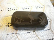 laquered snuff box with stork inlaid late 19th c