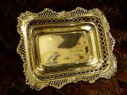 1895 London silver dish rose decoration