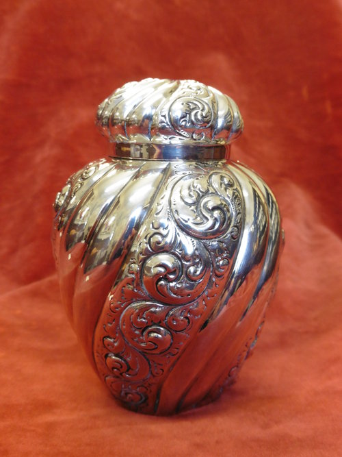 Antique Silver Lidded Pot c1889