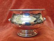 Antique Silver engraved bowl. c1887