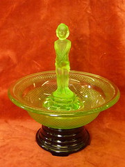 Art Deco Green Glass Flower Bowl
