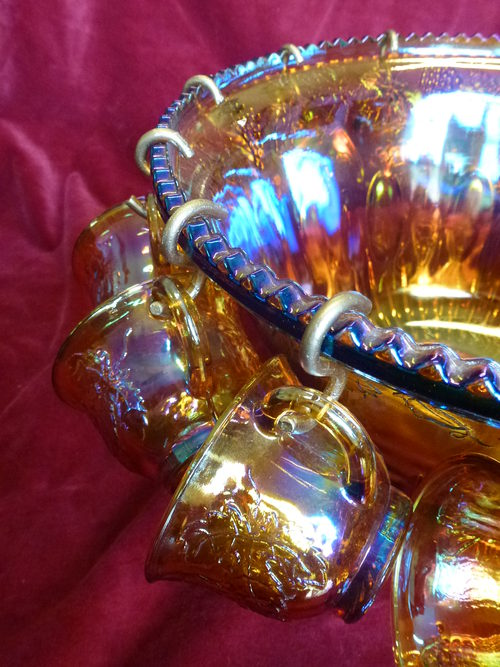 Carnival Glass Punchbowl and Glasses