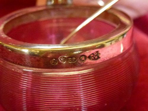 Cranberry Glass Mustard Pot
