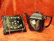 Jackfield ware tea pot & stand