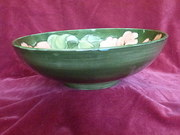 Moorcroft Green Hibsicus footed Bowl