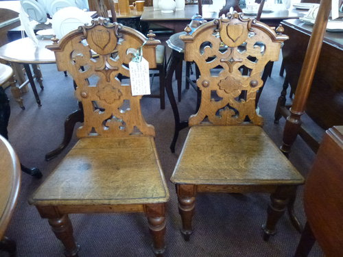 Pair of Victorian 1880 Oak Hall Chairs