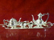 Silver Miniature 5 piece Tea Set