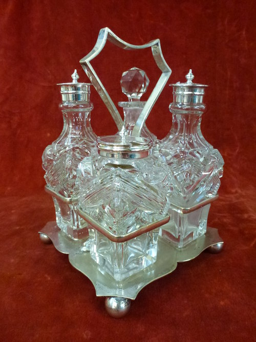 Victorian Silver Plated Cruet Stand