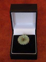 9ct Gold Ring, Jade and Diamonds