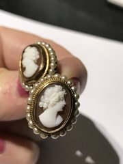 Fab pair Italian cameo earrings with pearls