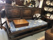 Large 18th century solid oak settle / bench