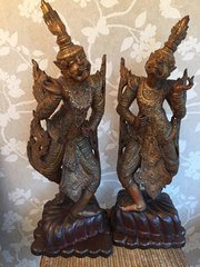 Large Pair Balinese gilt wood figures of dancers