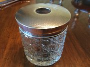 Large Silver & Glass Dressing Table Hair Jar