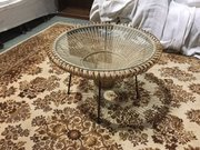 Mid-century cane and glass coffee table