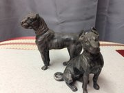 Pair Cast metal WMF dogs
