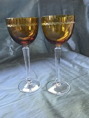 Pair Nachtmann Amber Hock or Wine Glasses