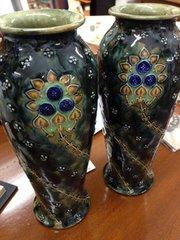 Pair Royal Doulton Vases, Christine Abbot