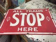 Pair Vintage enamel Tram signs