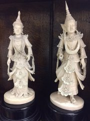 Pair ivory figurines