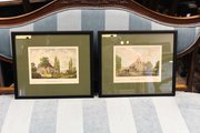 Pair of Hand Coloured Belgian Lithographs