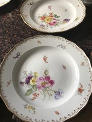 Pair of Meissen plates decorated with insects