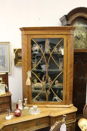 Regency Astragal Glazed Birchwood Corner Cupboard