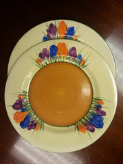 Set of 6 Clarice Cliff Bizarre Crocus Side Plates