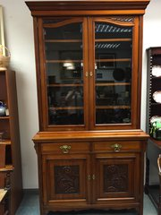 Superb Antique Glazed Bookcase Cupboard