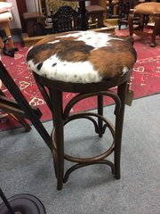 Unusual upcycled bentwood stool with cowhide top