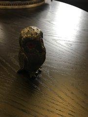 Vintage Pewter owl Pounce pot