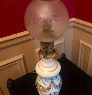 1850 Oil Lamp  Petit Paris Porcelain Enamelled