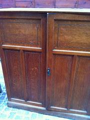 Art Nouveau  Inlaid Scholl Cupboard in Solid Oak