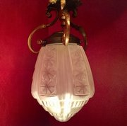 1900 Ceiling Lamp  Frosted Glass and Bronze French