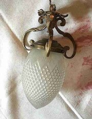 1900 French Lantern Bronze and Etched Glass