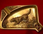 1900 Vide Poche Ashtray English  Setter Bronze